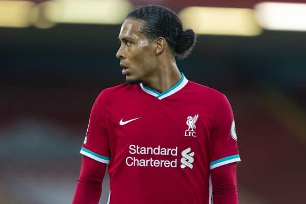 LIVERPOOL, ENGLAND - Saturday, September 12, 2020: Liverpool's Virgil van Dijk during the opening FA Premier League match between Liverpool FC and Leeds United FC at Anfield. The game was played behind closed doors due to the UK government's social distancing laws during the Coronavirus COVID-19 Pandemic. Liverpool won 4-3. (Pic by David Rawcliffe/Propaganda)