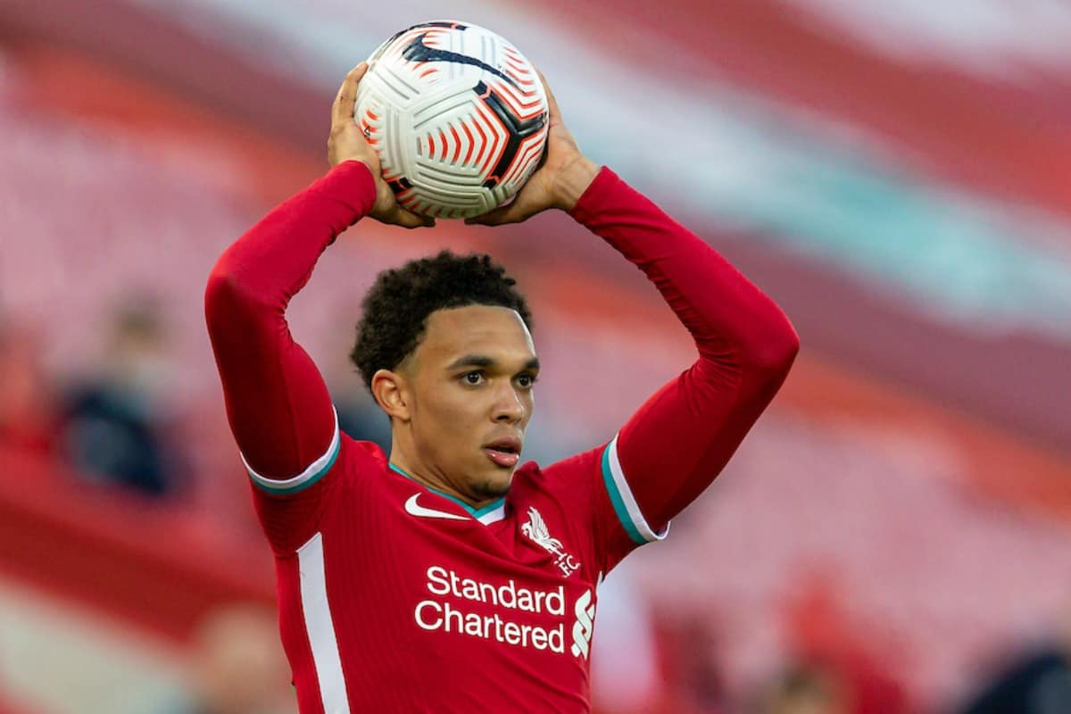 LIVERPOOL, ENGLAND - Saturday, September 12, 2020: Liverpool's Trent Alexander-Arnold takes a throw-in during the opening FA Premier League match between Liverpool FC and Leeds United FC at Anfield. The game was played behind closed doors due to the UK government's social distancing laws during the Coronavirus COVID-19 Pandemic. Liverpool won 4-3. (Pic by David Rawcliffe/Propaganda)