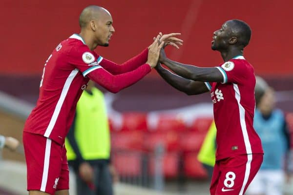 LIVERPOOL, ENGLAND - Saturday, September 12, 2020: Liverpool's Naby Keita is replaced by substitute Fabio Henrique Tavares 'Fabinho' during the opening FA Premier League match between Liverpool FC and Leeds United FC at Anfield. The game was played behind closed doors due to the UK government's social distancing laws during the Coronavirus COVID-19 Pandemic. Liverpool won 4-3. (Pic by David Rawcliffe/Propaganda)
