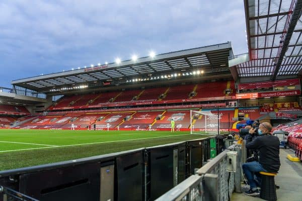LIVERPOOL, ENGLAND - Saturday, September 12, 2020: Photographers working during the opening FA Premier League match between Liverpool FC and Leeds United FC at Anfield. The game was played behind closed doors due to the UK government's social distancing laws during the Coronavirus COVID-19 Pandemic. Liverpool won 4-3. (Pic by David Rawcliffe/Propaganda)