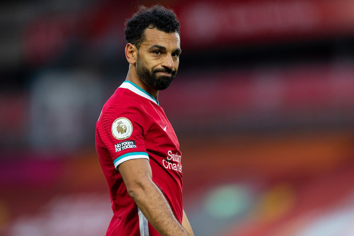 LIVERPOOL, ENGLAND - Saturday, September 12, 2020: Liverpool's Mohamed Salah during the opening FA Premier League match between Liverpool FC and Leeds United FC at Anfield. The game was played behind closed doors due to the UK government's social distancing laws during the Coronavirus COVID-19 Pandemic. Liverpool won 4-3. (Pic by David Rawcliffe/Propaganda)