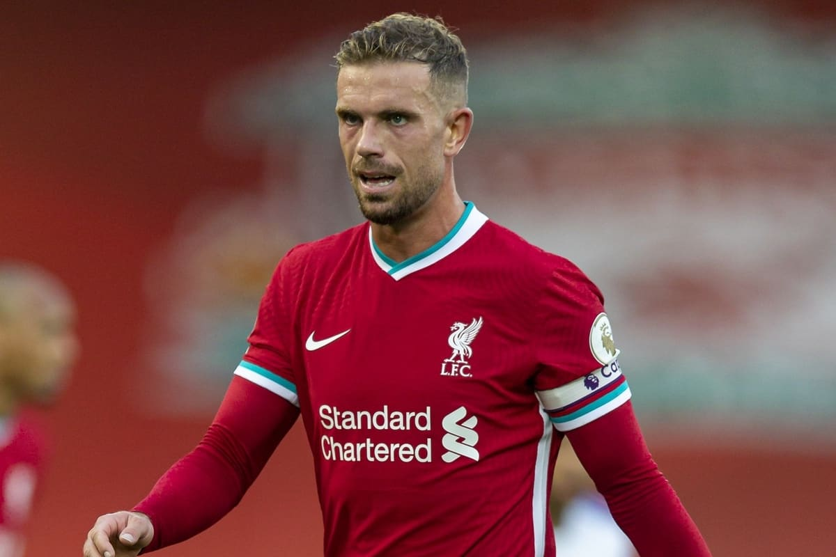 LIVERPOOL, ENGLAND - Saturday, September 12, 2020: Liverpool's captain Jordan Henderson during the opening FA Premier League match between Liverpool FC and Leeds United FC at Anfield. The game was played behind closed doors due to the UK government's social distancing laws during the Coronavirus COVID-19 Pandemic. Liverpool won 4-3. (Pic by David Rawcliffe/Propaganda)