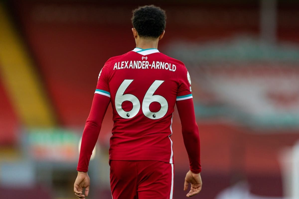LIVERPOOL, ENGLAND - Saturday, September 12, 2020: Liverpool's Trent Alexander-Arnold, wearing the number 66, during the opening FA Premier League match between Liverpool FC and Leeds United FC at Anfield. The game was played behind closed doors due to the UK government's social distancing laws during the Coronavirus COVID-19 Pandemic. Liverpool won 4-3. (Pic by David Rawcliffe/Propaganda)