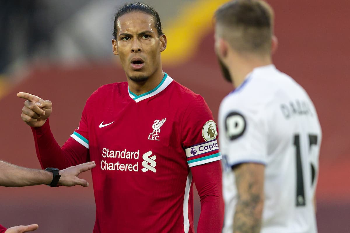 LIVERPOOL, ENGLAND - Saturday, September 12, 2020: Liverpool's Virgil van Dijk disputes a disallowed goal with referee Michael Oliver (L) during the opening FA Premier League match between Liverpool FC and Leeds United FC at Anfield. The game was played behind closed doors due to the UK government's social distancing laws during the Coronavirus COVID-19 Pandemic. Liverpool won 4-3. (Pic by David Rawcliffe/Propaganda)