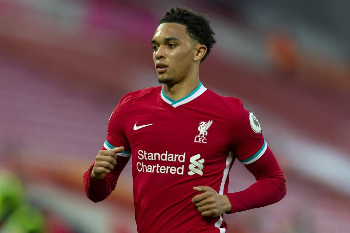 LIVERPOOL, ENGLAND - Saturday, September 12, 2020: Liverpool's Trent Alexander-Arnold during the opening FA Premier League match between Liverpool FC and Leeds United FC at Anfield. The game was played behind closed doors due to the UK government's social distancing laws during the Coronavirus COVID-19 Pandemic. Liverpool won 4-3. (Pic by David Rawcliffe/Propaganda)