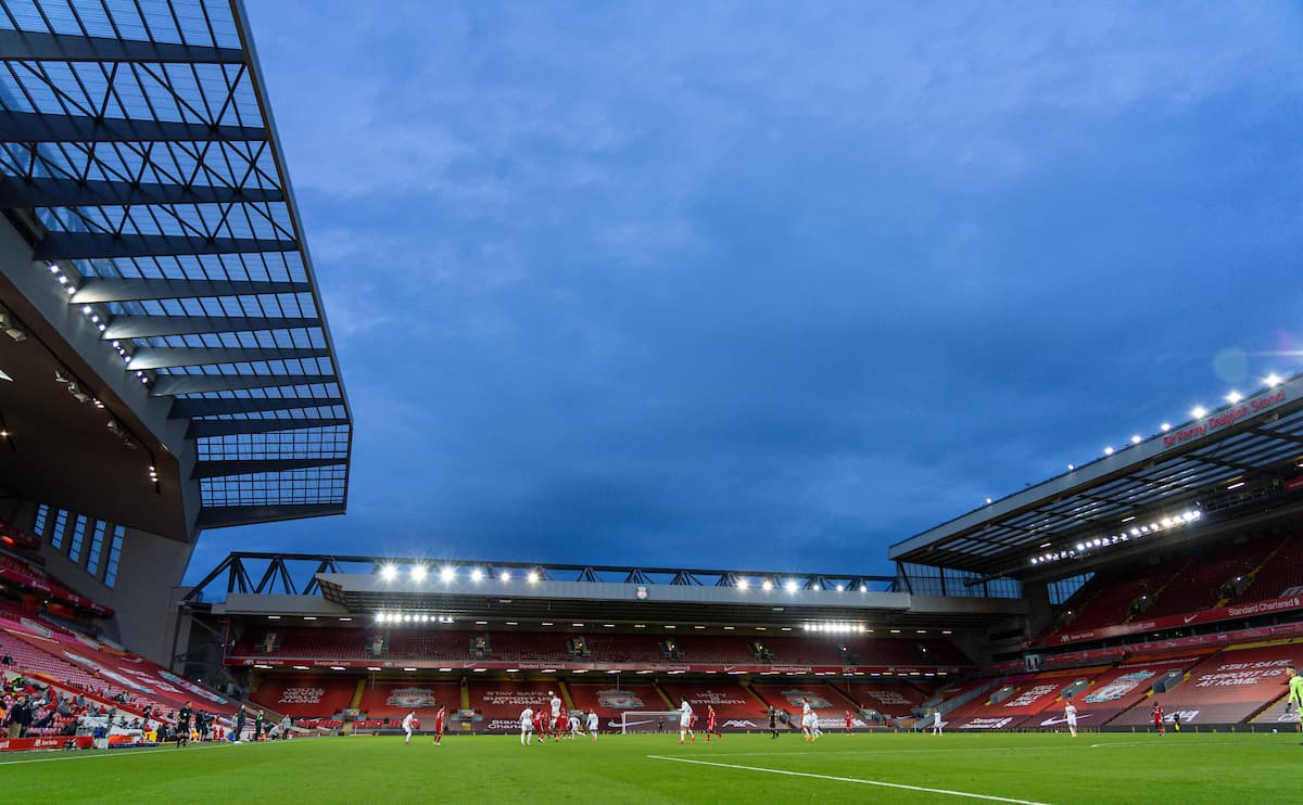 LIVERPOOL, ENGLAND - Saturday, September 12, 2020: A general view during the opening FA Premier League match between Liverpool FC and Leeds United FC at Anfield. The game was played behind closed doors due to the UK government's social distancing laws during the Coronavirus COVID-19 Pandemic. Liverpool won 4-3. (Pic by David Rawcliffe/Propaganda)