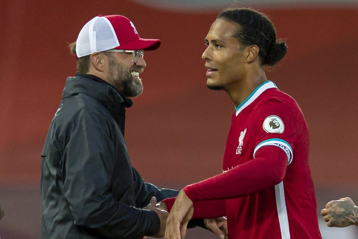 LIVERPOOL, ENGLAND - Saturday, September 12, 2020: Liverpool's manager Jürgen Klopp with Virgil van Dijk after the opening FA Premier League match between Liverpool FC and Leeds United FC at Anfield. The game was played behind closed doors due to the UK government's social distancing laws during the Coronavirus COVID-19 Pandemic. Liverpool won 4-3. (Pic by David Rawcliffe/Propaganda)