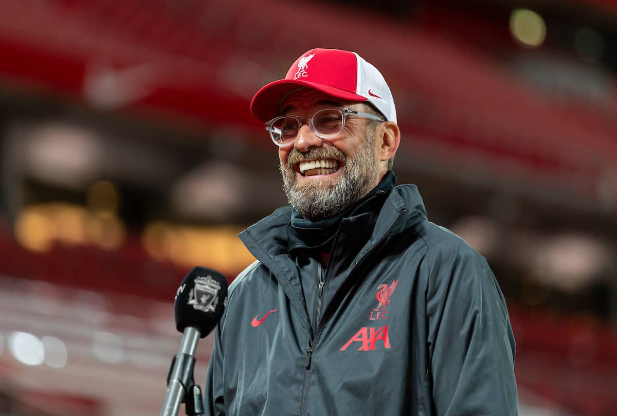 LIVERPOOL, ENGLAND - Saturday, September 12, 2020: Liverpool's manager Jürgen Klopp is interviewed by LFC.TV after the opening FA Premier League match between Liverpool FC and Leeds United FC at Anfield. The game was played behind closed doors due to the UK government's social distancing laws during the Coronavirus COVID-19 Pandemic. Liverpool won 4-3. (Pic by David Rawcliffe/Propaganda)
