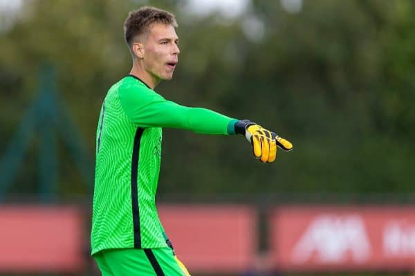 LIVERPOOL, ENGLAND - Saturday, February 22, 2020: Liverpool's goalkeeper Jakub Ojrzynski during the Under-18 FA Premier League match between Liverpool FC and Stoke City FC at the Liverpool Academy. Liverpool won 5-0. (Pic by David Rawcliffe/Propaganda)