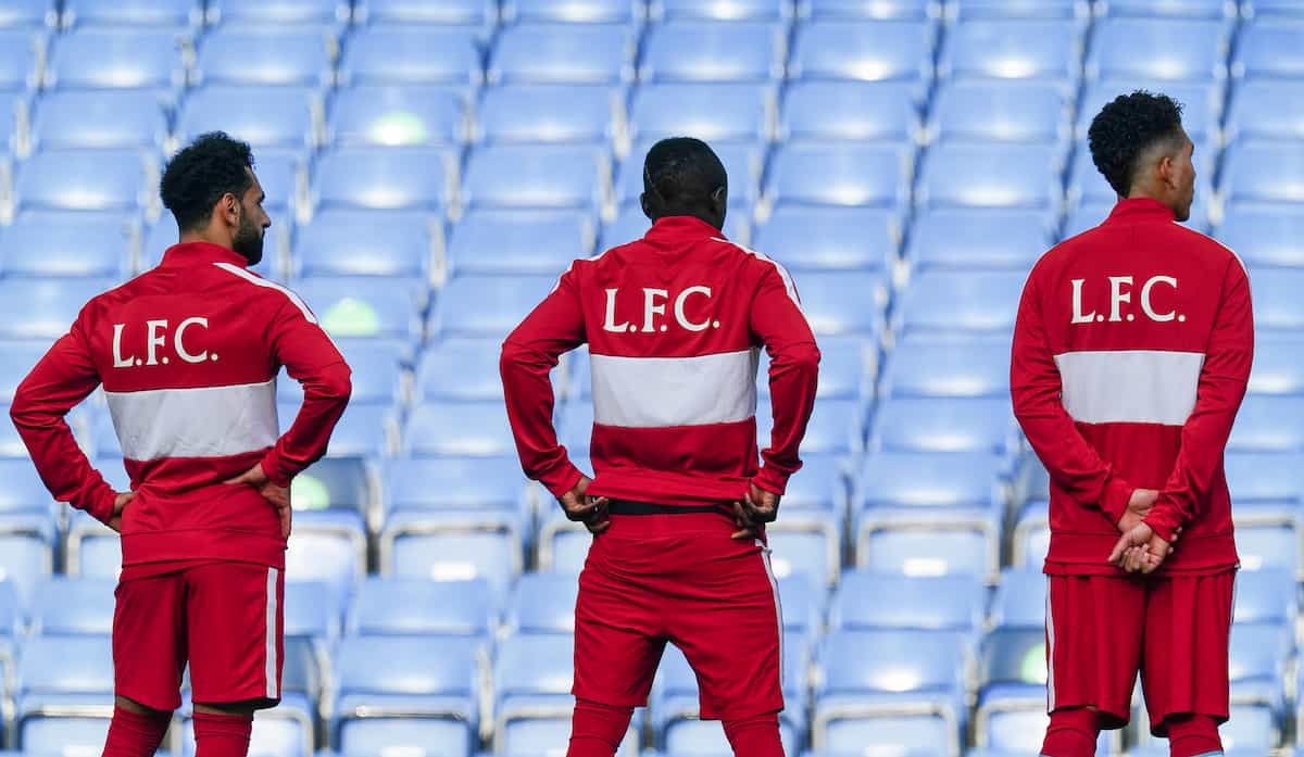 LONDON, ENGLAND - Sunday, September 20, 2020: Liverpool players line-up wearing anthem jackets with L.F.C. on the back before the FA Premier League match between Chelsea FC and Liverpool FC at Stamford Bridge. The game was played behind closed doors due to the UK government's social distancing laws during the Coronavirus COVID-19 Pandemic. Liverpool won 2-0. (Pic by Propaganda)