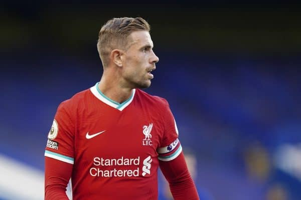 LONDON, ENGLAND - Sunday, September 20, 2020: Liverpool's captain Jordan Henderson during the FA Premier League match between Chelsea FC and Liverpool FC at Stamford Bridge. The game was played behind closed doors due to the UK government's social distancing laws during the Coronavirus COVID-19 Pandemic. Liverpool won 2-0. (Pic by Propaganda)