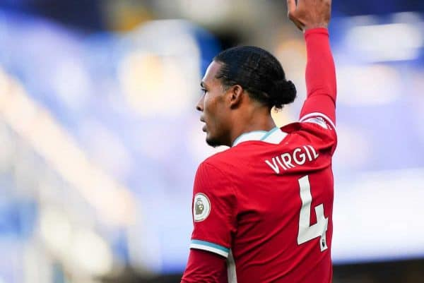 LONDON, ENGLAND - Sunday, September 20, 2020: Liverpool's Virgil van Dijk during the FA Premier League match between Chelsea FC and Liverpool FC at Stamford Bridge. The game was played behind closed doors due to the UK government's social distancing laws during the Coronavirus COVID-19 Pandemic. Liverpool won 2-0. (Pic by Propaganda)