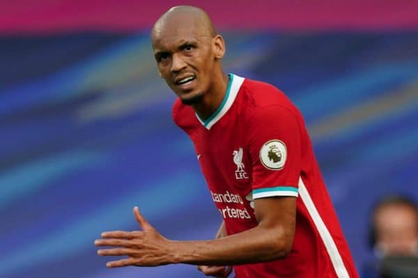 LONDON, ENGLAND - Sunday, September 20, 2020: Liverpool's Fabio Henrique Tavares 'Fabinho' during the FA Premier League match between Chelsea FC and Liverpool FC at Stamford Bridge. The game was played behind closed doors due to the UK government's social distancing laws during the Coronavirus COVID-19 Pandemic. Liverpool won 2-0. (Pic by Propaganda)