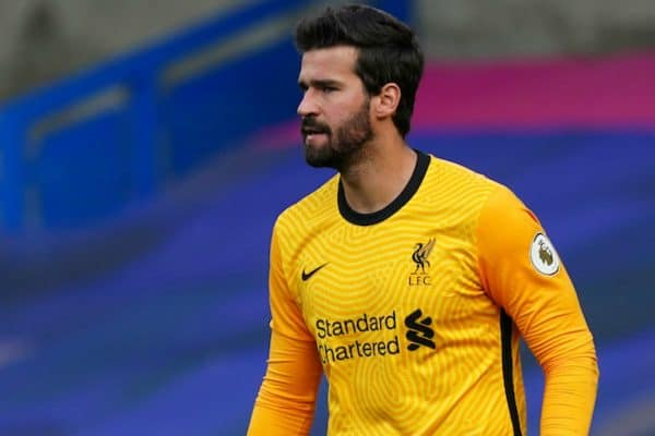 LONDON, ENGLAND - Sunday, September 20, 2020: Liverpool's goalkeeper Alisson Becker during the FA Premier League match between Chelsea FC and Liverpool FC at Stamford Bridge. The game was played behind closed doors due to the UK government's social distancing laws during the Coronavirus COVID-19 Pandemic. Liverpool won 2-0. (Pic by Propaganda)