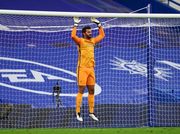 LONDON, ENGLAND - Sunday, September 20, 2020: Liverpool's goalkeeper Alisson Becker prepares to face a penalty kick during the FA Premier League match between Chelsea FC and Liverpool FC at Stamford Bridge. The game was played behind closed doors due to the UK government's social distancing laws during the Coronavirus COVID-19 Pandemic. Liverpool won 2-0. (Pic by Propaganda)