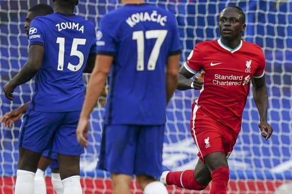 LONDON, ENGLAND - Sunday, September 20, 2020: Liverpool's Sadio Mané celebrates after scoring the first goal with a header during the FA Premier League match between Chelsea FC and Liverpool FC at Stamford Bridge. The game was played behind closed doors due to the UK government's social distancing laws during the Coronavirus COVID-19 Pandemic. Liverpool won 2-0. (Pic by Propaganda)
