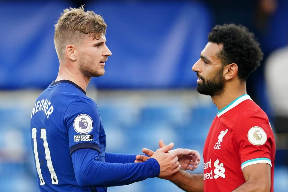 LONDON, ENGLAND - Sunday, September 20, 2020: Liverpool's Mohamed Salah (R) shakes hands with Chelsea's Timo Werner after the FA Premier League match between Chelsea FC and Liverpool FC at Stamford Bridge. The game was played behind closed doors due to the UK government's social distancing laws during the Coronavirus COVID-19 Pandemic. (Pic by Propaganda)