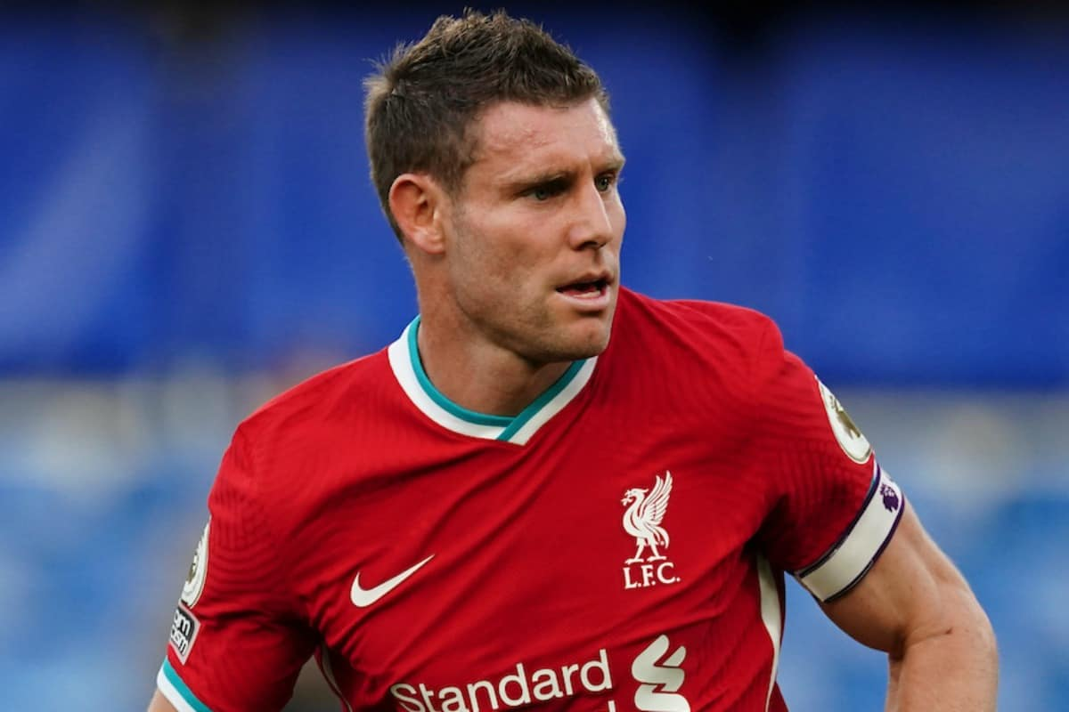 LONDON, ENGLAND - Sunday, September 20, 2020: Liverpool's James Milner during the FA Premier League match between Chelsea FC and Liverpool FC at Stamford Bridge. The game was played behind closed doors due to the UK government's social distancing laws during the Coronavirus COVID-19 Pandemic. Liverpool won 2-0. (Pic by Propaganda)