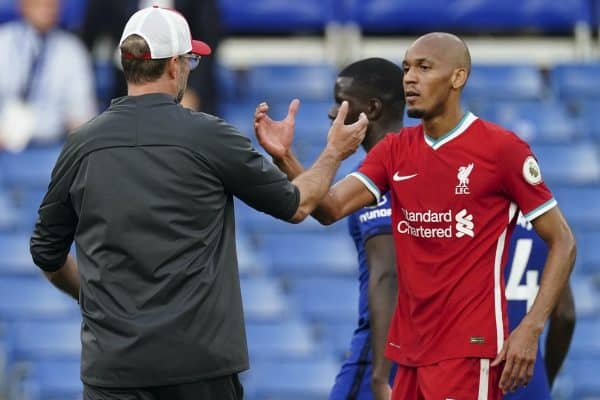 LONDON, ENGLAND - Sunday, September 20, 2020: Liverpool's Fabio Henrique Tavares 'Fabinho' (R) shakes hands with manager Jürgen Klopp after the FA Premier League match between Chelsea FC and Liverpool FC at Stamford Bridge. The game was played behind closed doors due to the UK government's social distancing laws during the Coronavirus COVID-19 Pandemic. Liverpool won 2-0. (Pic by Propaganda)