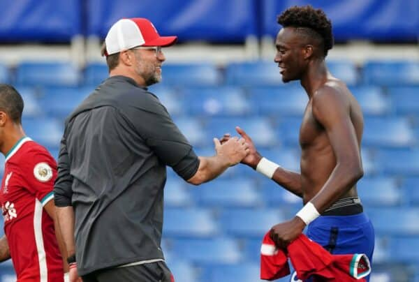 Liverpool's manager Jürgen Klopp shakes hands with Chelsea's Tammy Abraham after the FA Premier League match between Chelsea FC and Liverpool FC at Stamford Bridge. The game was played behind closed doors due to the UK government's social distancing laws during the Coronavirus COVID-19 Pandemic. Liverpool won 2-0. (Pic by Propaganda)