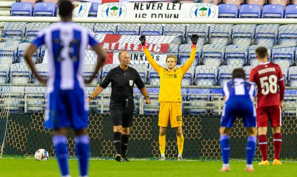 WIGAN, ENGLAND - Tuesday, September 22, 2020: Liverpool's goalkeeper Caoimhin Kelleher prepares to face a penalty-kick during the EFL Trophy Northern Group D match between Wigan Athletic and Liverpool FC Under-21's at the DW Stadium. Wigan Athletic won 6-1. (Pic by David Rawcliffe/Propaganda)