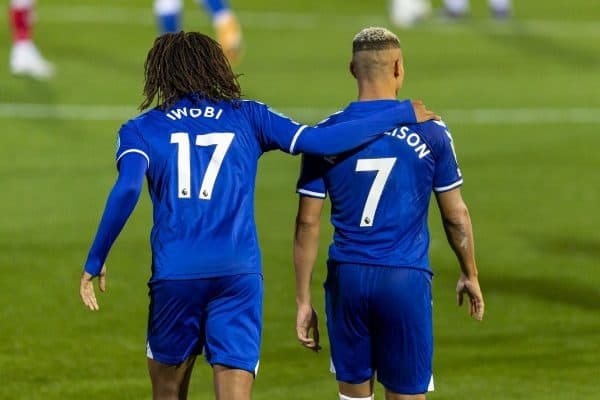 FLEETWOOD, ENGLAND - Wednesday, September 23, 2020: Everton's Alex Iwobi (L) celebrates scoring the third goal with team-mate Richarlison de Andrade during the Football League Cup 3rd Round match between Fleetwood Town FC and Everton FC at Highbury Stadium. Everton won 5-2. (Pic by David Rawcliffe/Propaganda)