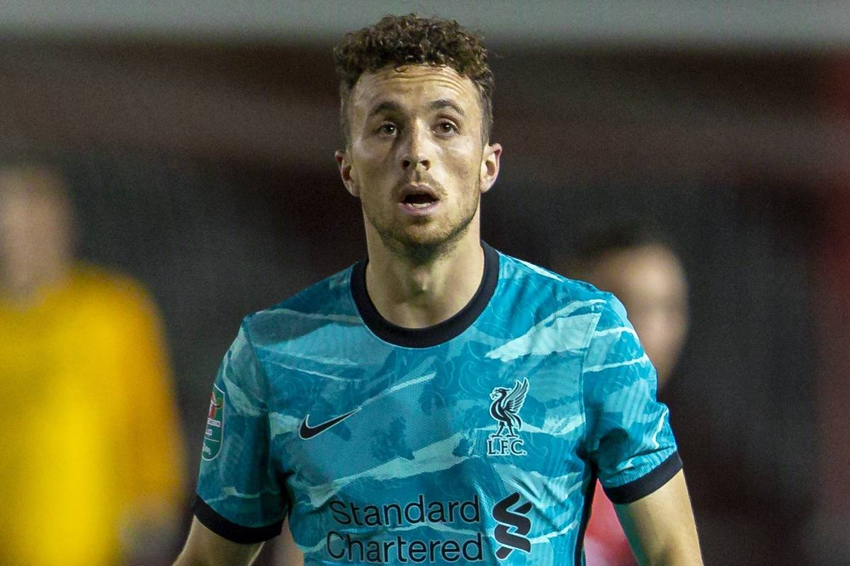 LINCOLN, ENGLAND - Thursday, September 24, 2020: Liverpool's Diogo Jota during the Football League Cup 3rd Round match between Lincoln City FC and Liverpool FC at Sincil Bank. Liverpool won 7-2. (Pic by David Rawcliffe/Propaganda)