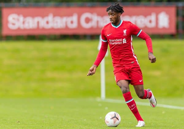 KIRKBY, ENGLAND - Saturday, September 26, 2020: Liverpool's James Balagizi during the Under-18 Premier League match between Liverpool FC Under-18's and Manchester City FC Under-18's at the Liverpool Academy. Manchester City won 3-1. (Pic by David Rawcliffe/Propaganda)