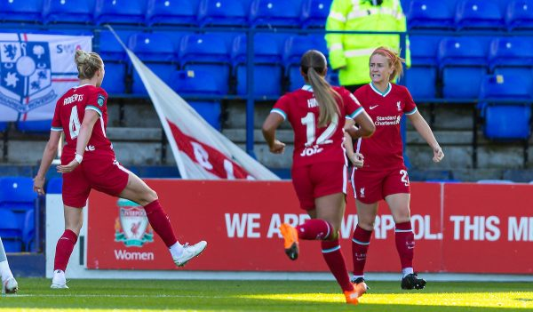 BIRKENHEAD, ENGLAND - Sunday, September 27, 2020: Liverpool's Rachel Furness celebrates after scoring the first goal during the FA Women's Championship game between Liverpool FC Women and Charlton Athletic Women FC at Prenton Park. Liverpool won 4-0. (Pic by David Rawcliffe/Propaganda)