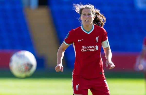 BIRKENHEAD, ENGLAND - Sunday, September 27, 2020: Liverpool's captain Niamh Fahey during the FA Women's Championship game between Liverpool FC Women and Charlton Athletic Women FC at Prenton Park. Liverpool won 4-0. (Pic by David Rawcliffe/Propaganda)