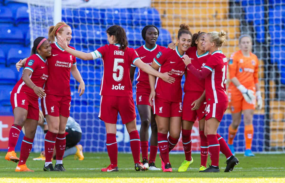 BIRKENHEAD, ENGLAND - Sunday, September 27, 2020: Liverpool's Jade Bailey (3rd from R) celebrates with team-mates after scoring the second goal during the FA Women's Championship game between Liverpool FC Women and Charlton Athletic Women FC at Prenton Park. Liverpool won 4-0. (Pic by David Rawcliffe/Propaganda)