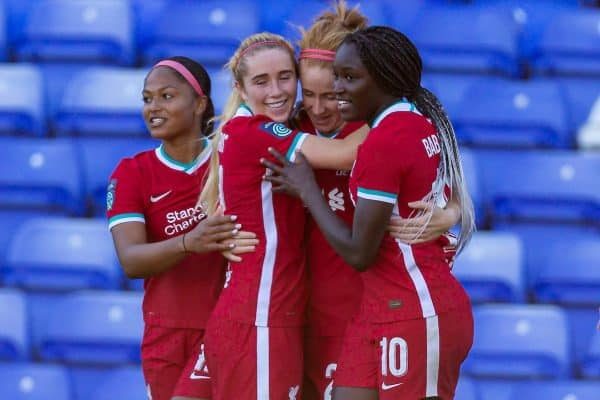 BIRKENHEAD, ENGLAND - Sunday, September 27, 2020: Liverpool's Rachel Furness (2nd from R) celebrates scoring the third goal during the FA Women's Championship game between Liverpool FC Women and Charlton Athletic Women FC at Prenton Park. Liverpool won 4-0. (Pic by David Rawcliffe/Propaganda)