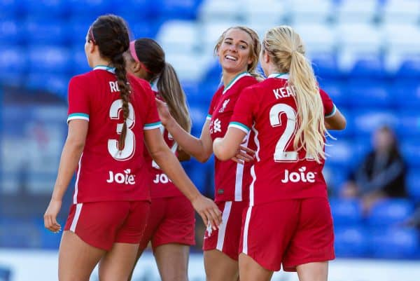 BIRKENHEAD, ENGLAND - Sunday, September 27, 2020: Liverpool's Kirsty Linnett (2nd from R) celebrates scoring the fourth goal during the FA Women's Championship game between Liverpool FC Women and Charlton Athletic Women FC at Prenton Park. Liverpool won 4-0. (Pic by David Rawcliffe/Propaganda)
