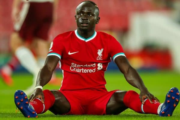 LIVERPOOL, ENGLAND - Monday, September 28, 2020: Liverpool's Sadio Mané looks dejected after missing a chance during the FA Premier League match between Liverpool FC and Arsenal FC at Anfield. The game was played behind closed doors due to the UK government's social distancing laws during the Coronavirus COVID-19 Pandemic. Liverpool won 3-1. (Pic by Propaganda)