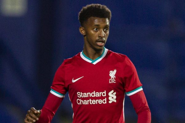 BIRKENHEAD, ENGLAND - Tuesday, September 29, 2020: Liverpool's Abdulrahman Sharif during the EFL Trophy Northern Group D match between Tranmere Rovers FC and Liverpool FC Under-21's at Prenton Park. Tranmere Rovers won 3-2. (Pic by David Rawcliffe/Propaganda)