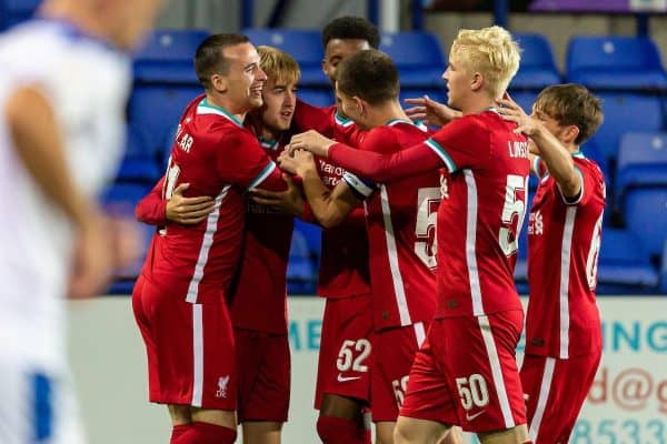 BIRKENHEAD, ENGLAND - Tuesday, September 29, 2020: Liverpool's Jake Cain (2nd from L) celebrates with team-mate after scoring the first goal during the EFL Trophy Northern Group D match between Tranmere Rovers FC and Liverpool FC Under-21's at Prenton Park. Tranmere Rovers won 3-2. (Pic by David Rawcliffe/Propaganda)