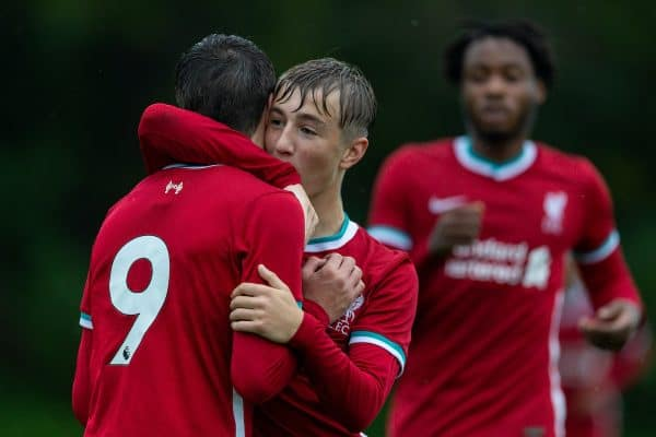 BLACKBURN, ENGLAND - Saturday, October 3, 2020: Liverpool's Layton Stewart (L) celebrates with team-mate Max Woltman (R) after scoring the first goal during the Under-18 FA Premier League match between Blackburn Rovers FC Under-18's and Liverpool FC Under-18's at Brockhall Village Training Ground. Liverpool won 3-0. (Pic by David Rawcliffe/Propaganda)
