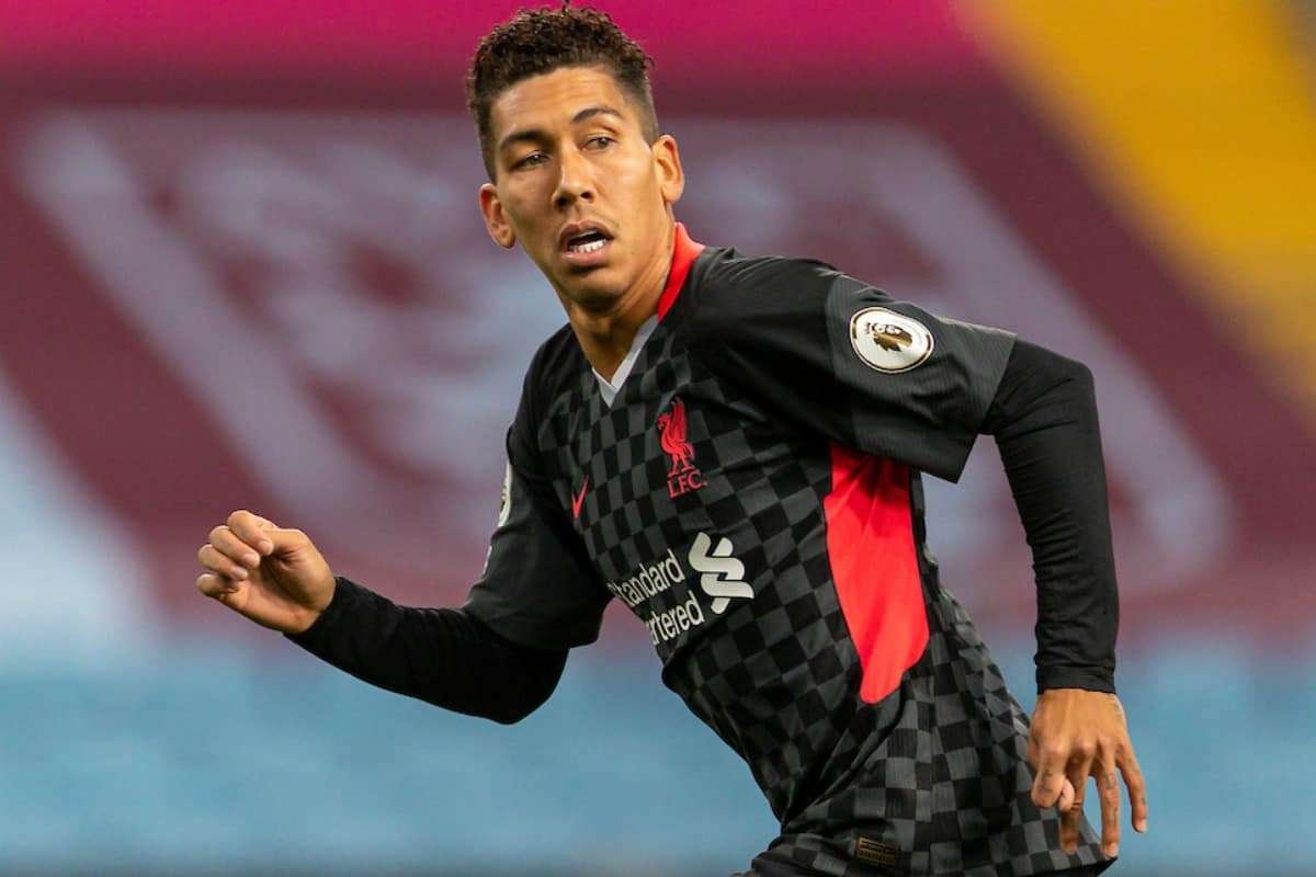 BIRMINGHAM, ENGLAND - Sunday, October 4, 2020: Liverpool's Roberto Firmino during the FA Premier League match between Aston Villa FC and Liverpool FC at Villa Park. The game was played behind closed doors due to the UK government's social distancing laws during the Coronavirus COVID-19 Pandemic. Aston Villa won 7-2. (Pic by David Rawcliffe/Propaganda)
