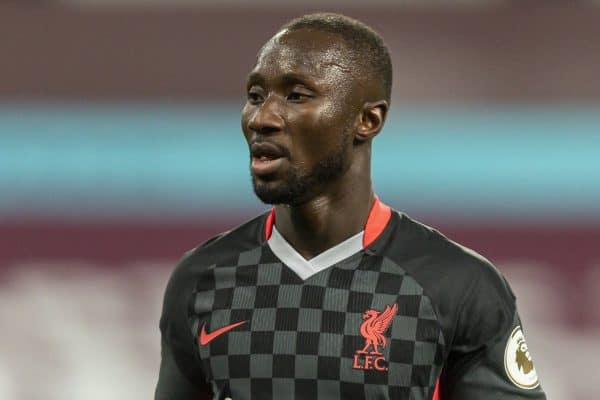 BIRMINGHAM, ENGLAND - Sunday, October 4, 2020: Liverpool's Naby Keita during the FA Premier League match between Aston Villa FC and Liverpool FC at Villa Park. The game was played behind closed doors due to the UK government's social distancing laws during the Coronavirus COVID-19 Pandemic. Aston Villa won 7-2. (Pic by David Rawcliffe/Propaganda)