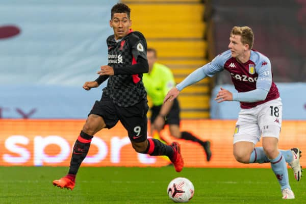 BIRMINGHAM, ENGLAND - Sunday, October 4, 2020: Liverpool's Roberto Firmino (L) and Aston Villa's Matt Targett during the FA Premier League match between Aston Villa FC and Liverpool FC at Villa Park. The game was played behind closed doors due to the UK government's social distancing laws during the Coronavirus COVID-19 Pandemic. Aston Villa won 7-2. (Pic by David Rawcliffe/Propaganda)