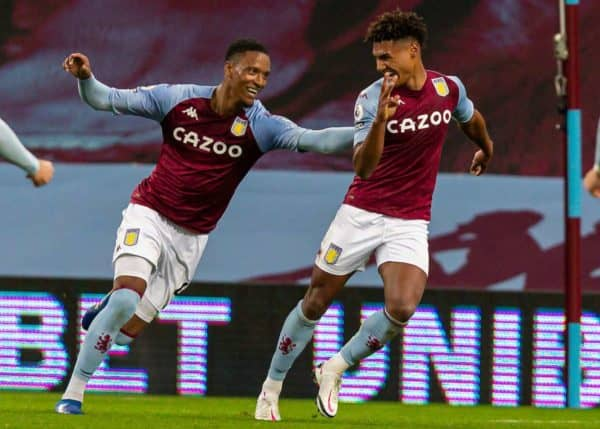 BIRMINGHAM, ENGLAND - Sunday, October 4, 2020: Aston Villa's Ollie Watkins (R) celebrates with team-mate Ezri Konsa Ngoyo (L) after scoring the fourth goal, completing his hat-trick and making the score 4-1, during the FA Premier League match between Aston Villa FC and Liverpool FC at Villa Park. The game was played behind closed doors due to the UK government's social distancing laws during the Coronavirus COVID-19 Pandemic. Aston Villa won 7-2. (Pic by David Rawcliffe/Propaganda)