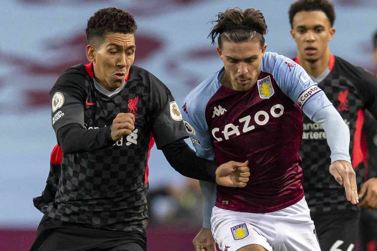 BIRMINGHAM, ENGLAND - Sunday, October 4, 2020: Liverpool's Roberto Firmino (L) challenges Aston Villa's captain Jack Grealish during the FA Premier League match between Aston Villa FC and Liverpool FC at Villa Park. The game was played behind closed doors due to the UK government's social distancing laws during the Coronavirus COVID-19 Pandemic. Aston Villa won 7-2. (Pic by David Rawcliffe/Propaganda)