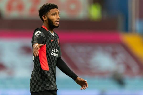 BIRMINGHAM, ENGLAND - Sunday, October 4, 2020: Liverpool's Joe Gomez during the FA Premier League match between Aston Villa FC and Liverpool FC at Villa Park. The game was played behind closed doors due to the UK government's social distancing laws during the Coronavirus COVID-19 Pandemic. Aston Villa won 7-2. (Pic by David Rawcliffe/Propaganda)