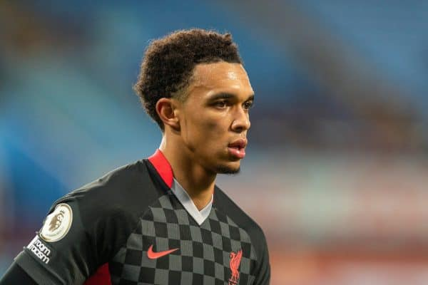 BIRMINGHAM, ENGLAND - Sunday, October 4, 2020: Liverpool's Trent Alexander-Arnold during the FA Premier League match between Aston Villa FC and Liverpool FC at Villa Park. The game was played behind closed doors due to the UK government's social distancing laws during the Coronavirus COVID-19 Pandemic. Aston Villa won 7-2. (Pic by David Rawcliffe/Propaganda)
