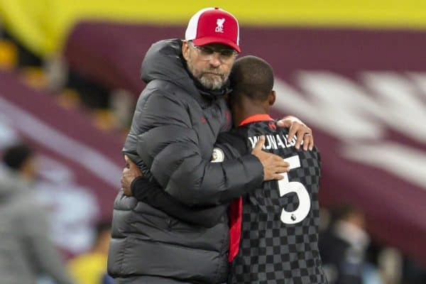 BIRMINGHAM, ENGLAND - Sunday, October 4, 2020: Liverpool's manager Jürgen Klopp embraces Georginio Wijnaldum after the FA Premier League match between Aston Villa FC and Liverpool FC at Villa Park. The game was played behind closed doors due to the UK government's social distancing laws during the Coronavirus COVID-19 Pandemic. Aston Villa won 7-2. (Pic by David Rawcliffe/Propaganda)
