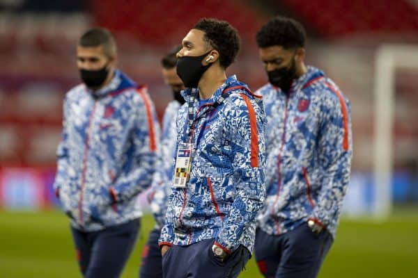LONDON, ENGLAND - Thursday, October 8, 2020: England's Trent Alexander-Arnold, wearing a face mask, before the International Friendly match between England and Wales at Wembley Stadium. The game was played behind closed doors due to the UK Government's social distancing laws prohibiting supporters from attending events inside stadiums as a result of the Coronavirus Pandemic. England won 3-0. (Pic by David Rawcliffe/Propaganda)