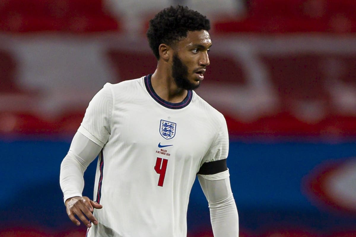 LONDON, ENGLAND - Thursday, October 8, 2020: England's Joe Gomez during the International Friendly match between England and Wales at Wembley Stadium. The game was played behind closed doors due to the UK Government's social distancing laws prohibiting supporters from attending events inside stadiums as a result of the Coronavirus Pandemic. England won 3-0. (Pic by David Rawcliffe/Propaganda)
