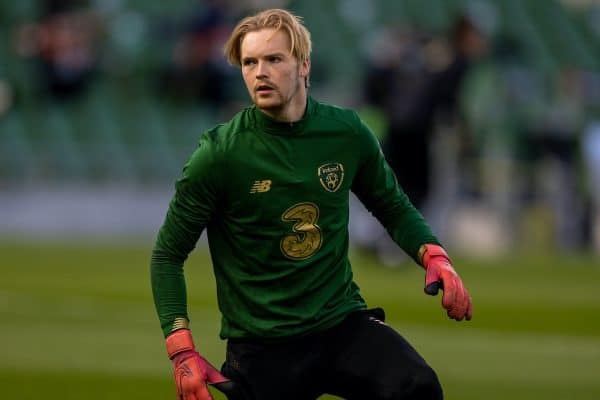 DUBLIN, REPUBLIC OF IRELAND - Sunday, October 11, 2020: Republic of Ireland's goalkeeper Caoimhin Kelleher during the pre-match warm-up before the UEFA Nations League Group Stage League B Group 4 match between Republic of Ireland and Wales at the Aviva Stadium. The game ended in a 0-0 draw. (Pic by David Rawcliffe/Propaganda)