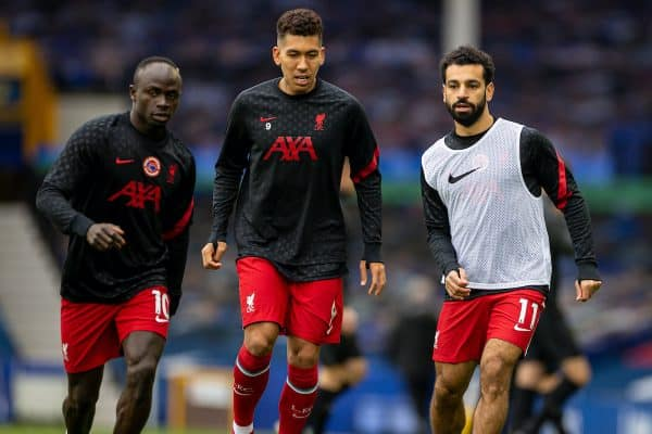 LIVERPOOL, ENGLAND - Saturday, October 17, 2020: Liverpool's Sadio Mané, Roberto Firmino and Mohamed Salah during the pre-match warm-up before the FA Premier League match between Everton FC and Liverpool FC, the 237th Merseyside Derby, at Goodison Park. The game was played behind closed doors due to the UK government's social distancing laws during the Coronavirus COVID-19 Pandemic. The game ended in a 2-2 draw. (Pic by David Rawcliffe/Propaganda)