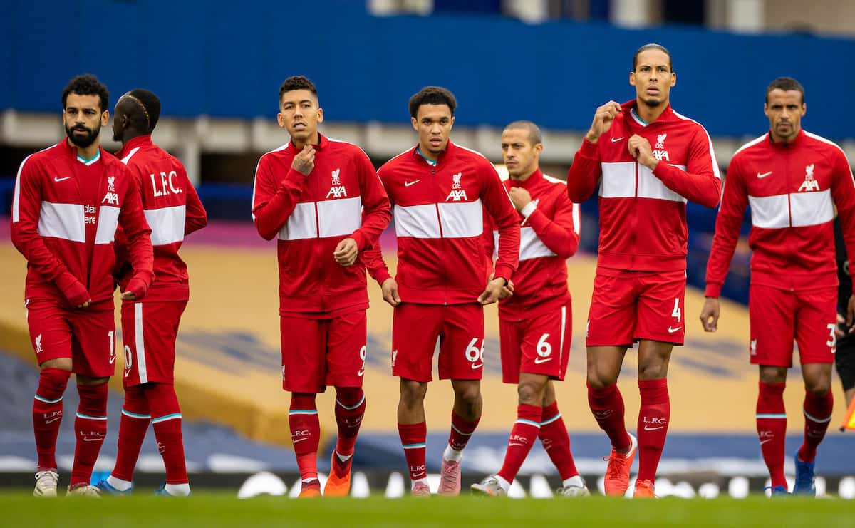 LIVERPOOL, ENGLAND - Saturday, October 17, 2020: Liverpool players wearing warm-up jackets line-up before the FA Premier League match between Everton FC and Liverpool FC, the 237th Merseyside Derby, at Goodison Park. The game was played behind closed doors due to the UK government's social distancing laws during the Coronavirus COVID-19 Pandemic. The game ended in a 2-2 draw. (Pic by David Rawcliffe/Propaganda)